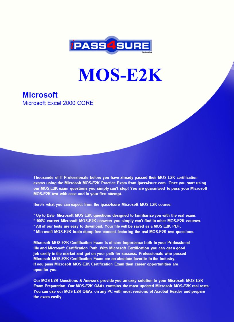 Mos E2k Microsoft Microsoft Excel 2000 Core Thousands Of It