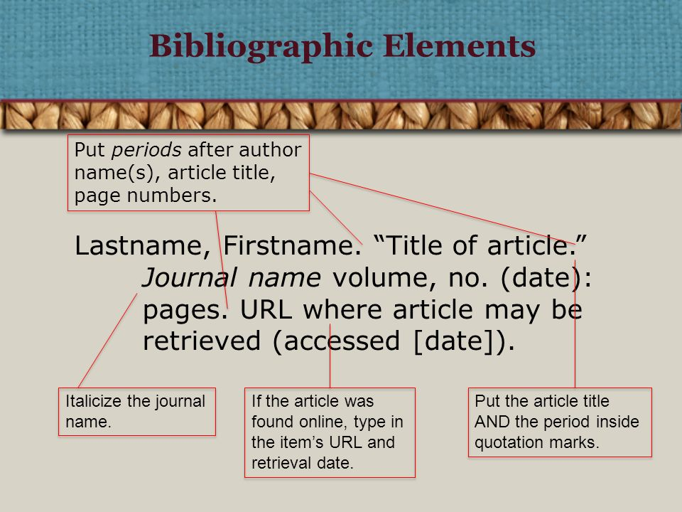 Bibliographic Elements Put Periods After Author Names Articlele Page Numbers