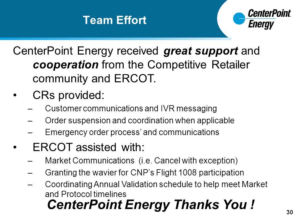 1 CenterPoint Energy Response to 'Hurricane Rita