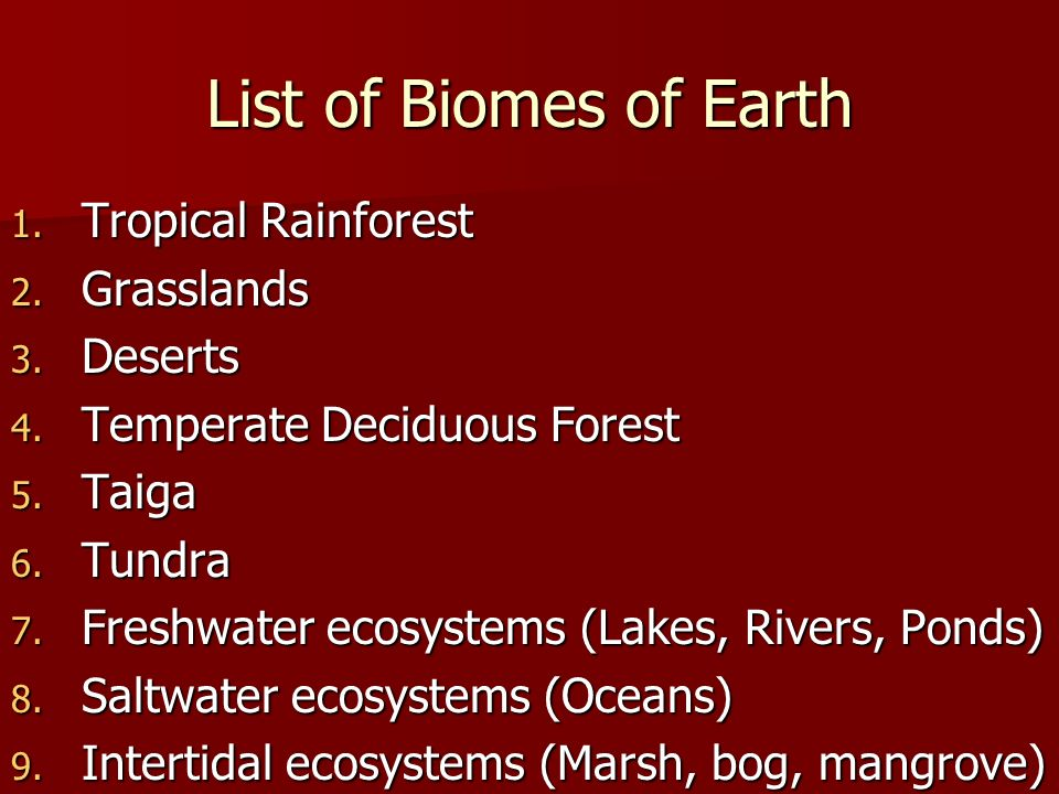 List of Biomes of Earth 1. Tropical Rainforest 2.