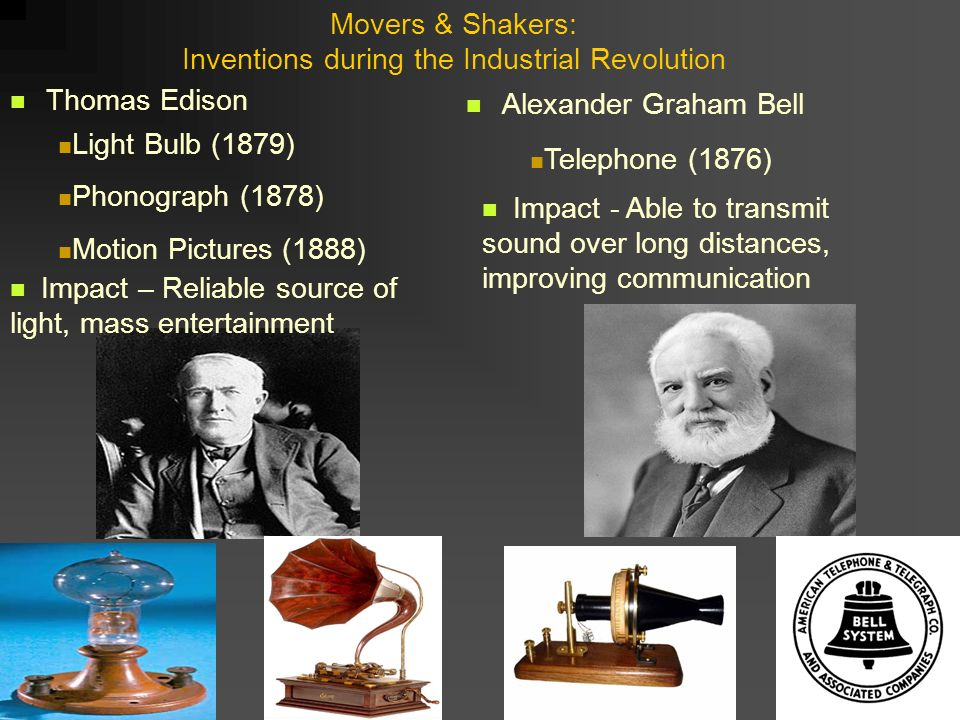 the inventions during the industrial revolution Related questions how was america changed by the telegraph during the industrial revolution 1 educator answer explain how inventions like the incandescent light bulb, the telephone, and the.