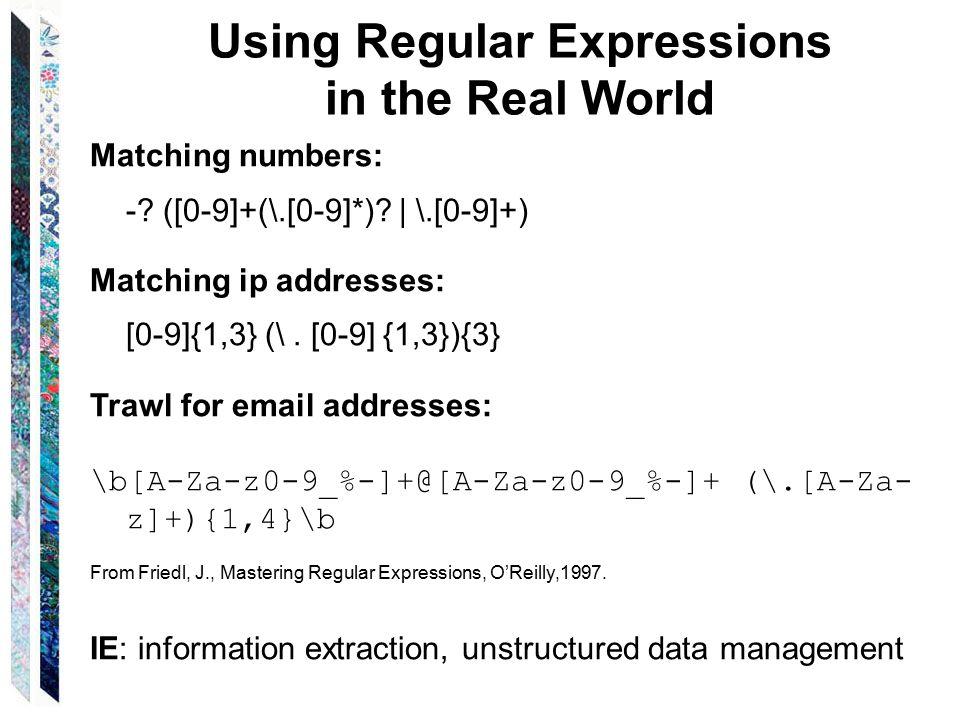 Regular Expressions Chapter 6  Regular Languages Regular