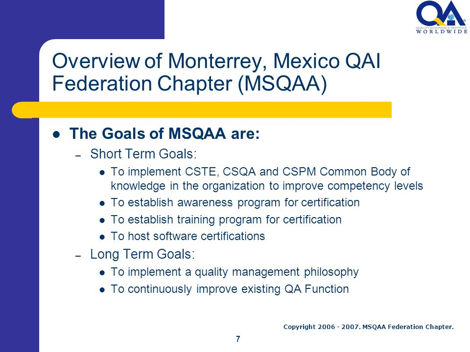 Monterrey Qai Federation Chapter Overview Msqaa Federation Chapter