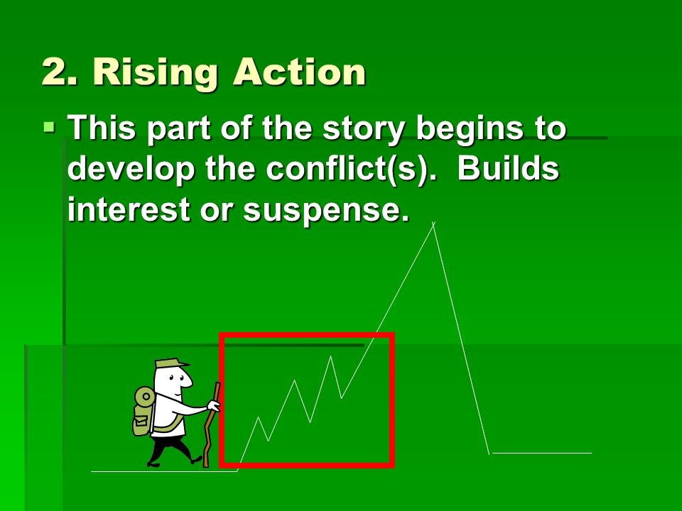 2. Rising Action  This part of the story begins to develop the conflict(s).