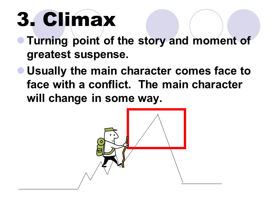 3. Climax Turning point of the story and moment of greatest suspense.