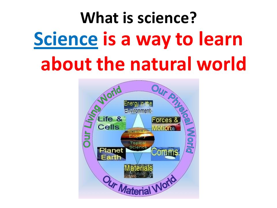 What is science Science is a way to learn about the natural world