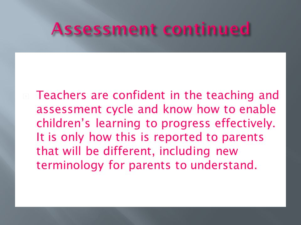  Teachers are confident in the teaching and assessment cycle and know how to enable children's learning to progress effectively.