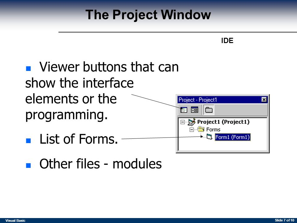 Integrated Development Environment Visual Basic IDE Slide 2 of 10