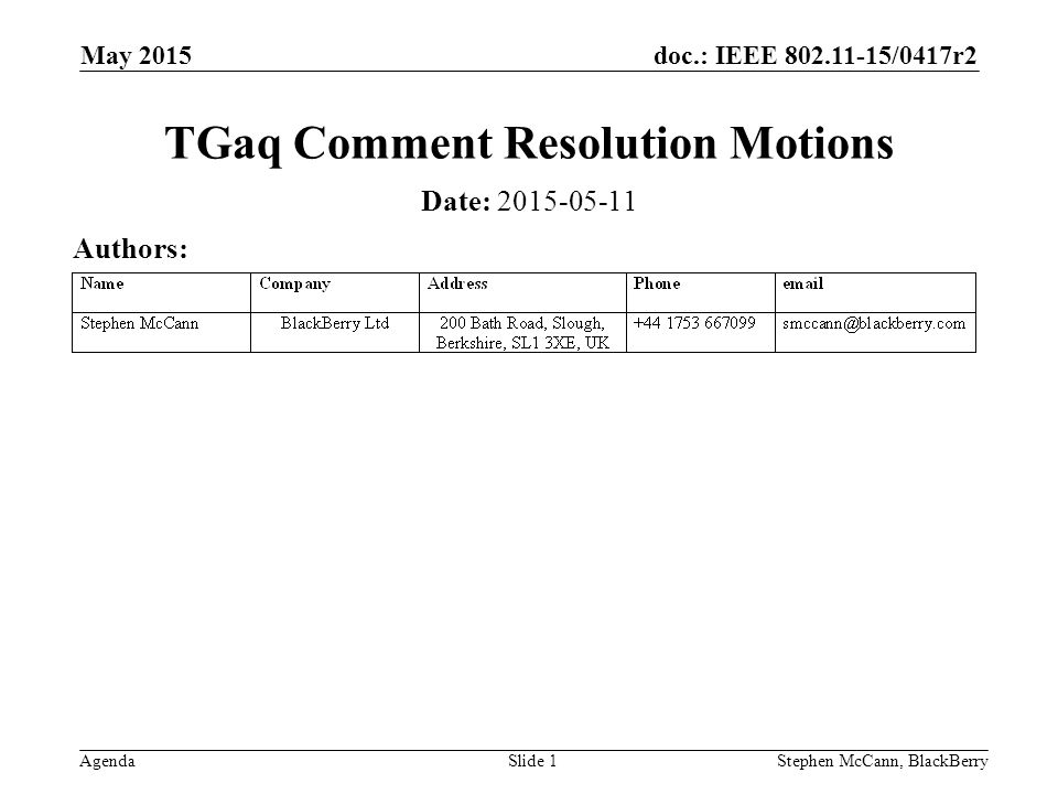 doc.: IEEE /0417r2 Agenda May 2015 Stephen McCann, BlackBerrySlide 1 TGaq Comment Resolution Motions Date: Authors:
