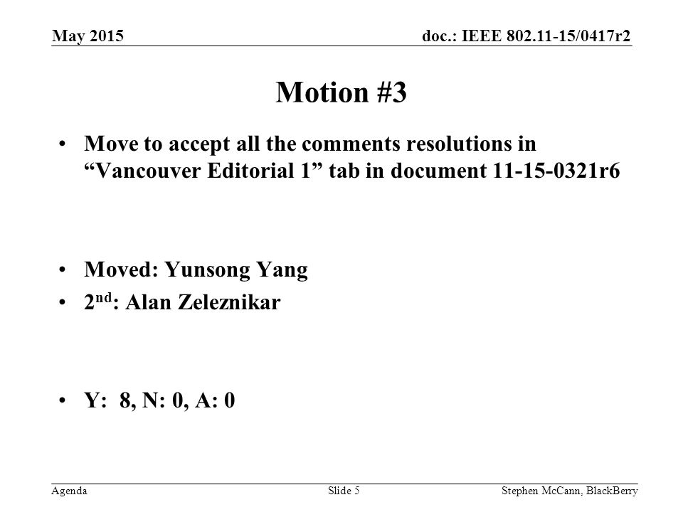 doc.: IEEE /0417r2 AgendaStephen McCann, BlackBerrySlide 5 Motion #3 Move to accept all the comments resolutions in Vancouver Editorial 1 tab in document r6 Moved: Yunsong Yang 2 nd : Alan Zeleznikar Y: 8, N: 0, A: 0 May 2015