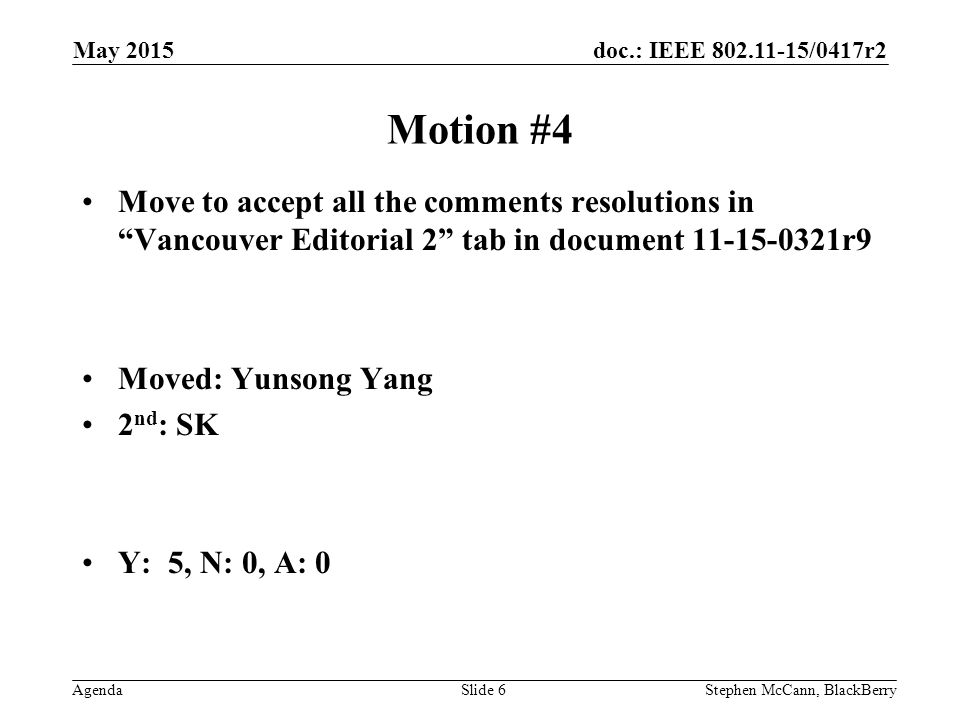 doc.: IEEE /0417r2 AgendaStephen McCann, BlackBerrySlide 6 Motion #4 Move to accept all the comments resolutions in Vancouver Editorial 2 tab in document r9 Moved: Yunsong Yang 2 nd : SK Y: 5, N: 0, A: 0 May 2015