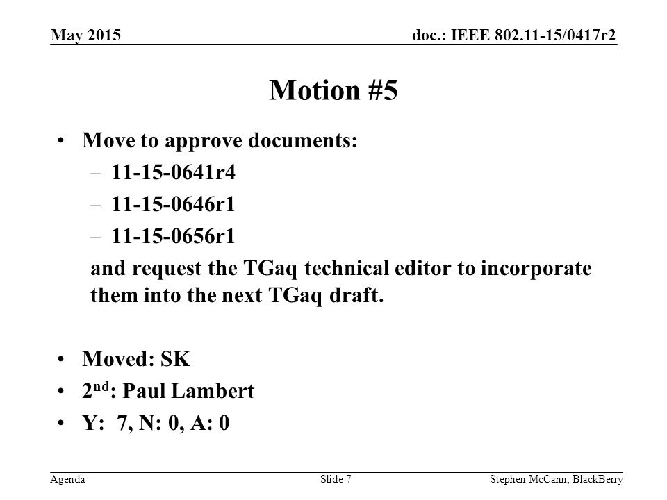 doc.: IEEE /0417r2 AgendaStephen McCann, BlackBerrySlide 7 Motion #5 Move to approve documents: – r4 – r1 – r1 and request the TGaq technical editor to incorporate them into the next TGaq draft.