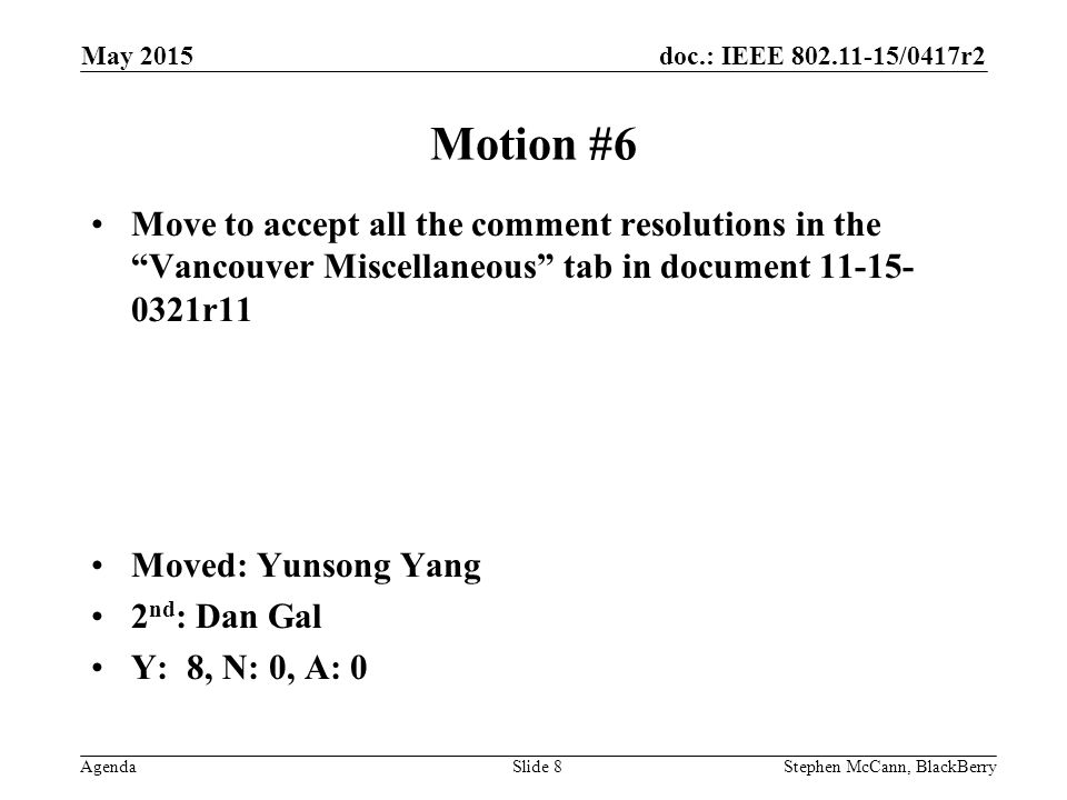 doc.: IEEE /0417r2 AgendaStephen McCann, BlackBerrySlide 8 Motion #6 Move to accept all the comment resolutions in the Vancouver Miscellaneous tab in document r11 Moved: Yunsong Yang 2 nd : Dan Gal Y: 8, N: 0, A: 0 May 2015