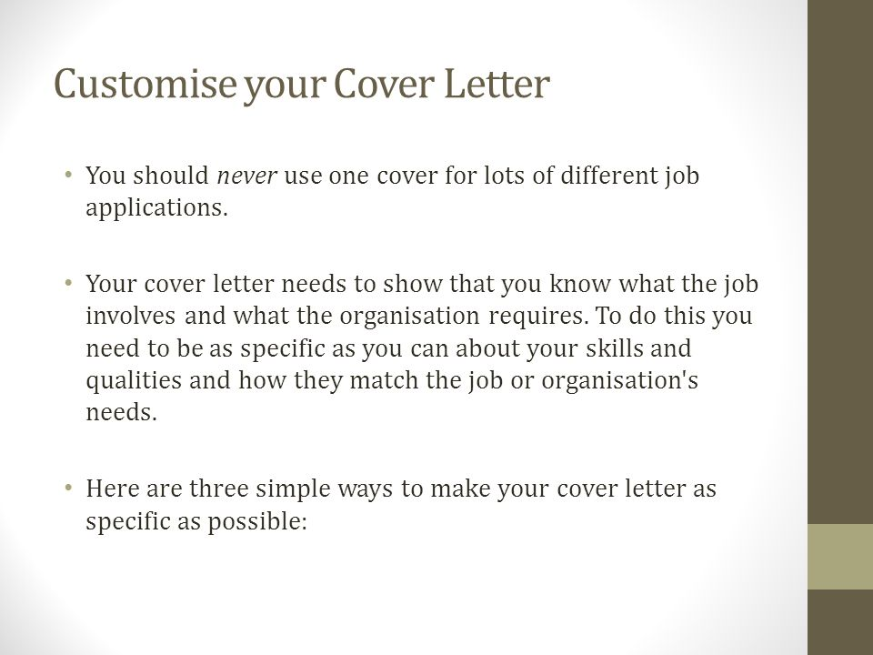 Cover letter youth central cover letters templates ppt download customise your cover letter you should never use one cover for lots of different job applications altavistaventures Image collections