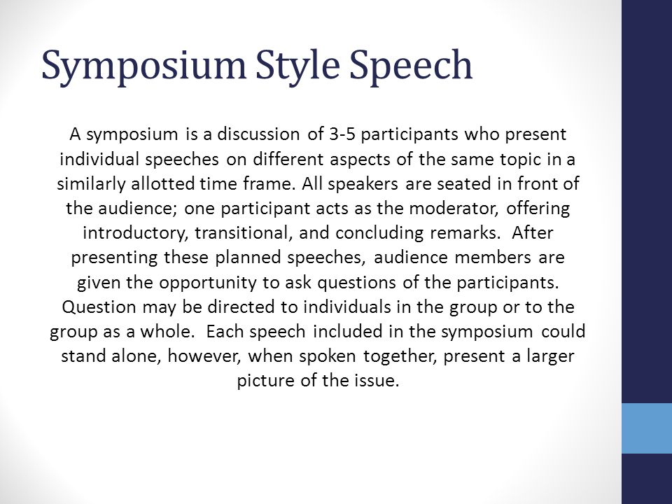Group Speech Assignment Symposium Style A