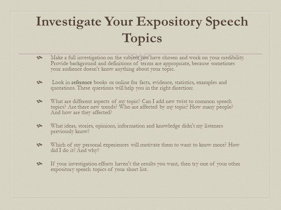 good expository speech topics
