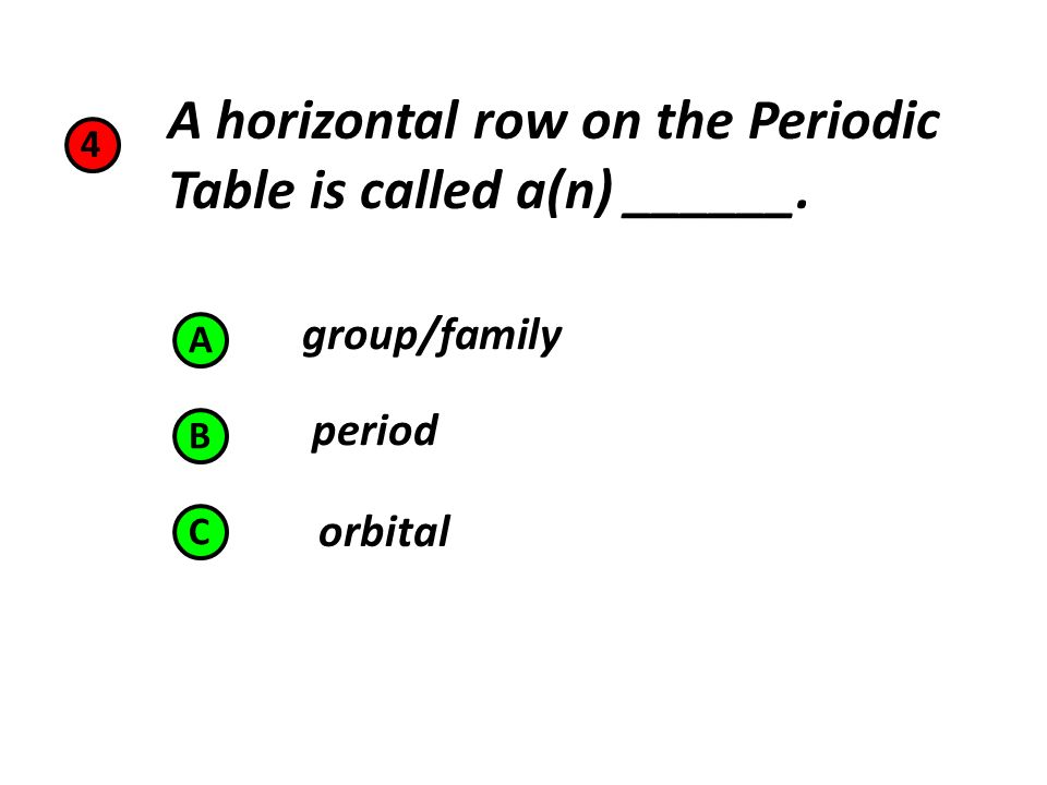 Chapters 5 6 o cl ti ne 1 which of the following elements is a 5 groupfamily period orbital 4 a horizontal row on the periodic table is called an a b c urtaz Image collections
