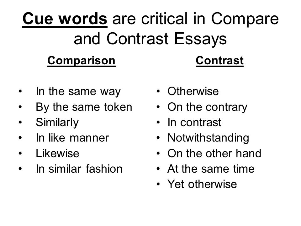 Examples Of An Example Essay  Cue Words Are Critical In Compare And Contrast Essays  Life Is A Journey Essay also Rebuttal Argument Essay Topics Compare And Contrast Essay For To Kill A Mockingbird Book Vs Movie  Essay On Computer