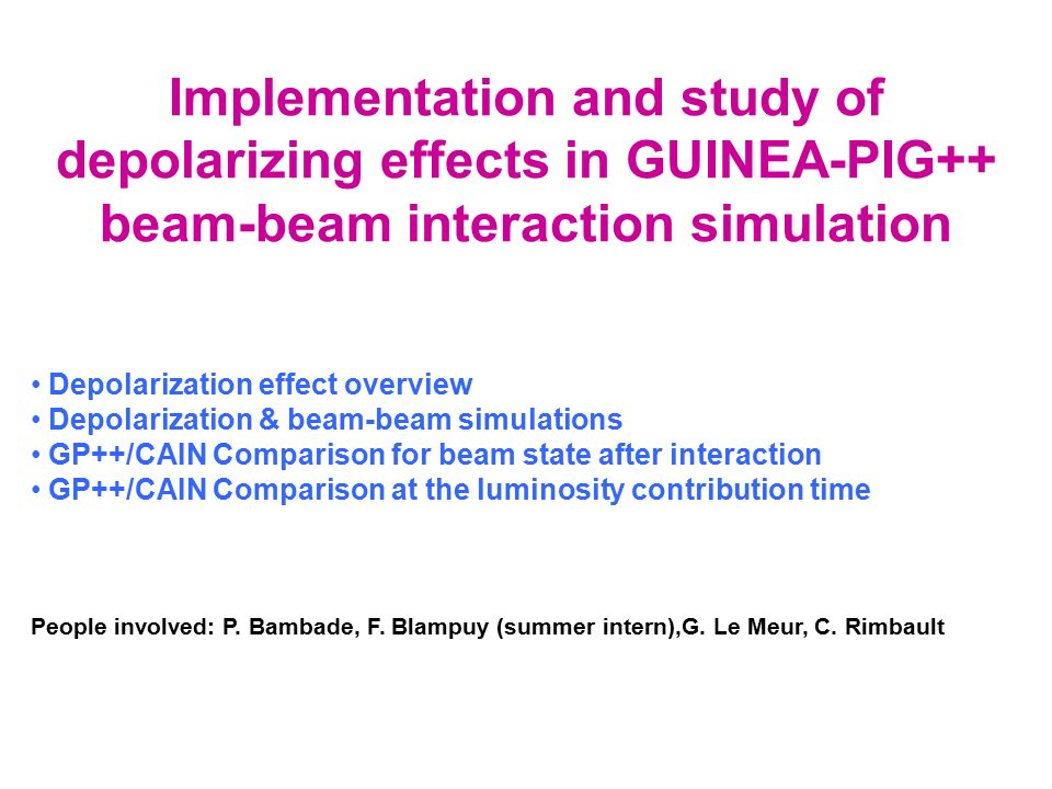 Implementation and study of depolarizing effects in GUINEA-PIG++