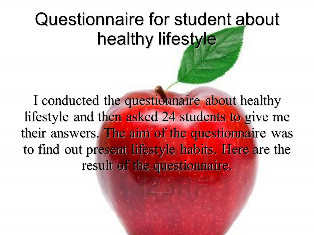 Questionnaire for students about healthy lifestyle Izabela