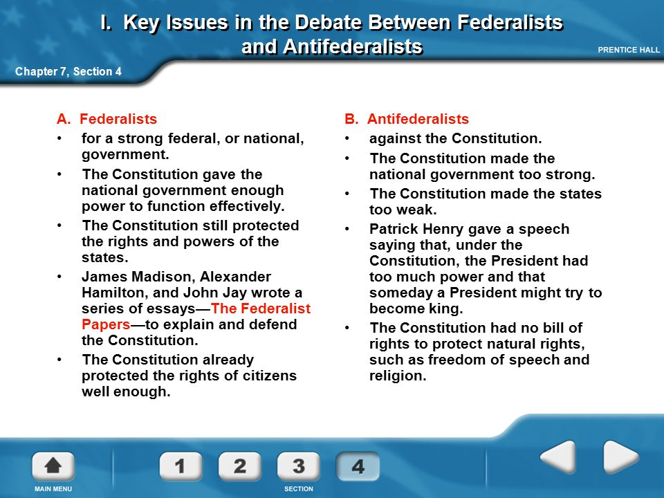 issues between federalists and antifederalists