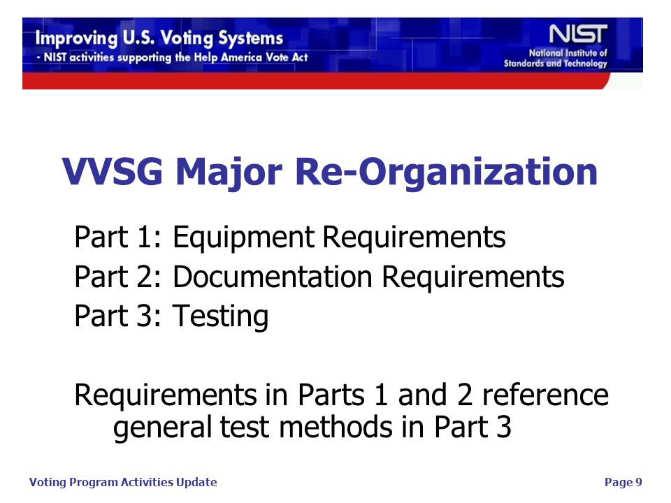aee60765b15 9 Page 9Voting Program Activities Update VVSG Major Re-Organization Part 1   Equipment Requirements Part 2  Documentation Requirements Part 3  Testing  ...