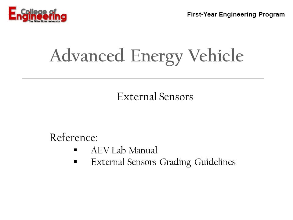 first year engineering program advanced energy vehicle external rh slideplayer com how to reference a lab manual ieee how to cite a lab manual