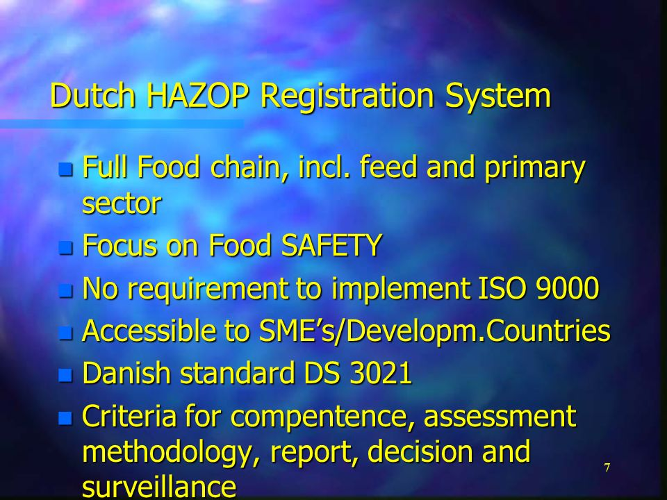 1 HARMONISATION of Criteria for HACCP food safety SYSTEMS