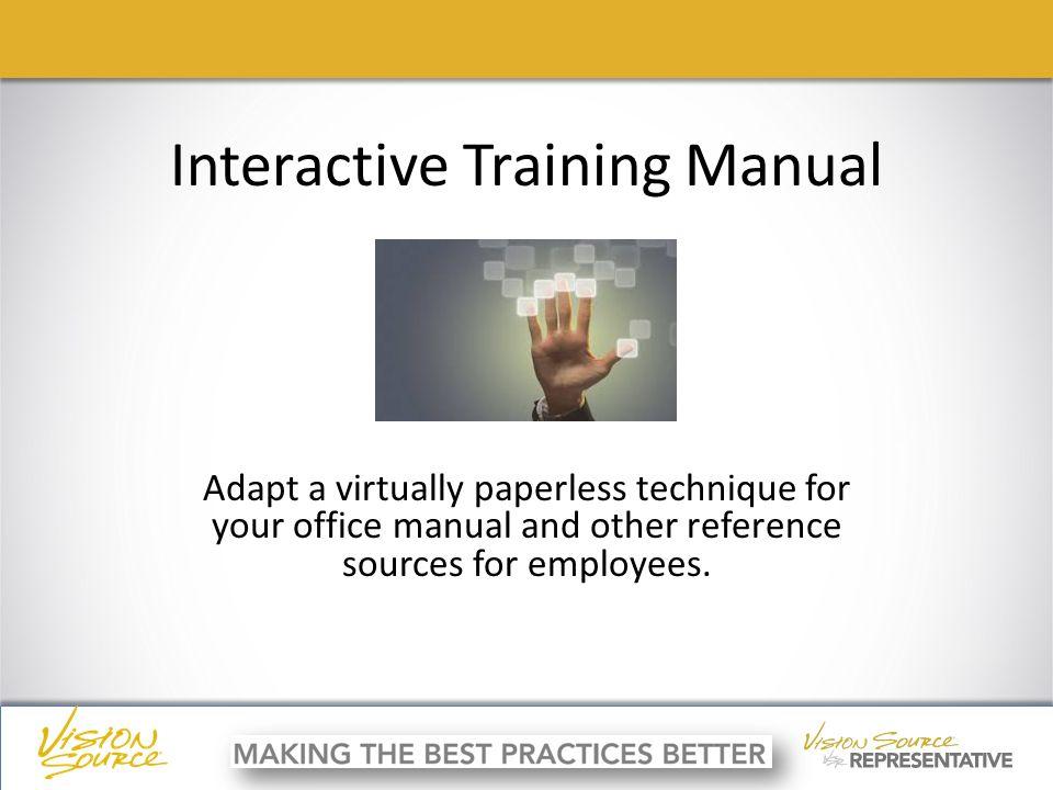 Ç ç interactive training manual adapt a virtually paperless