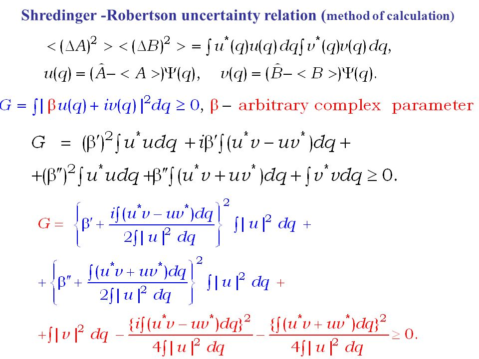 Shredinger -Robertson uncertainty relation ( method of calculation)