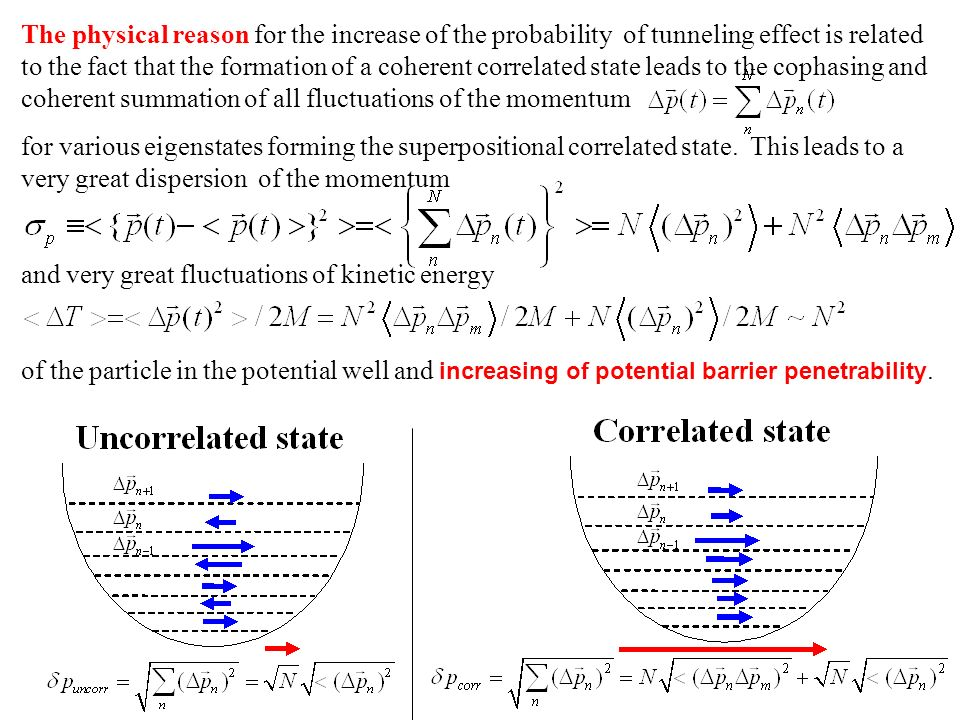 The physical reason for the increase of the probability of tunneling effect is related to the fact that the formation of a coherent correlated state leads to the cophasing and coherent summation of all fluctuations of the momentum for various eigenstates forming the superpositional correlated state.