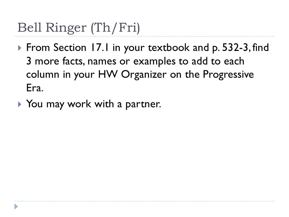 Bell Ringer (Th/Fri)  From Section 17.1 in your textbook and p.