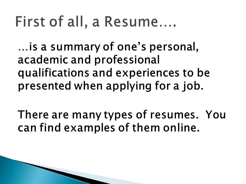 is a summary of one\u0027s personal, academic and professional