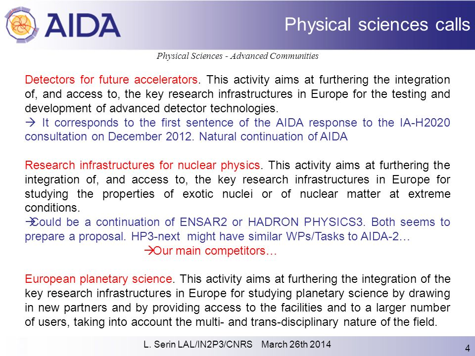 L  Serin LAL/IN2P3/CNRS March 26th AIDA-2 proposal Reminder of