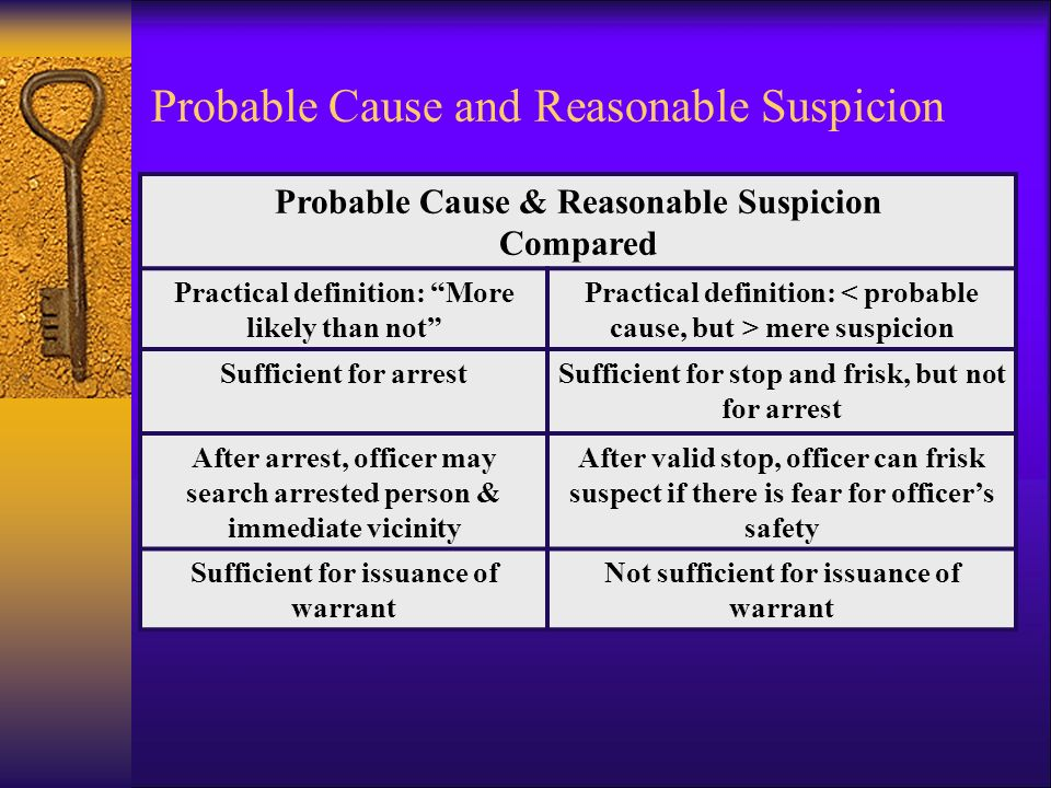probable cause and reasonable suspicion probable cause practical