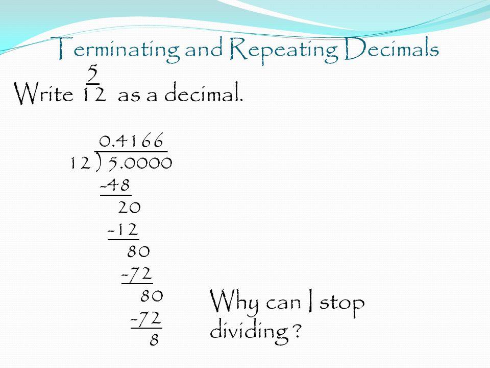 Terminating And Repeating Decimals  As A Decimal