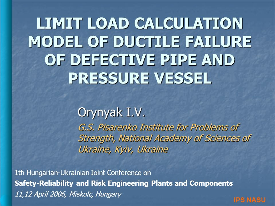LIMIT LOAD CALCULATION MODEL OF DUCTILE FAILURE OF DEFECTIVE PIPE