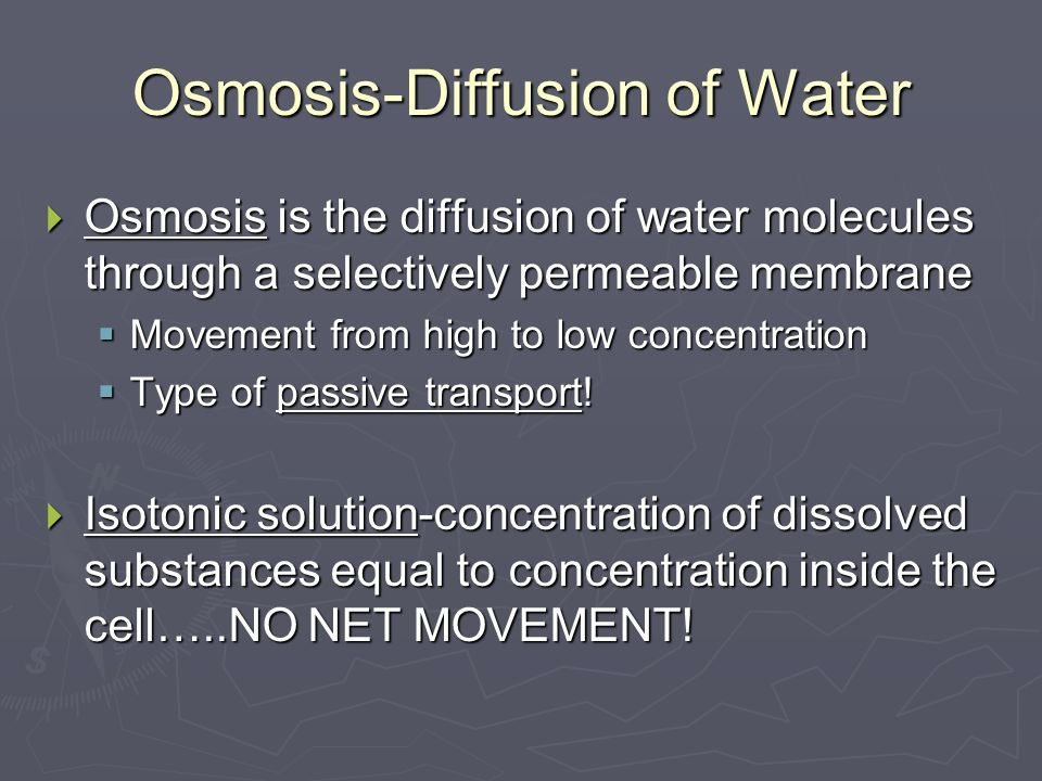 Osmosis-Diffusion of Water  Osmosis is the diffusion of water molecules through a selectively permeable membrane  Movement from high to low concentration  Type of passive transport.