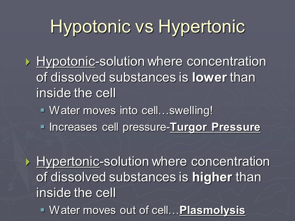 Hypotonic vs Hypertonic  Hypotonic-solution where concentration of dissolved substances is lower than inside the cell  Water moves into cell…swelling.