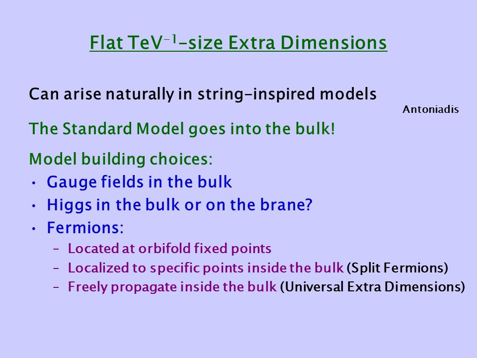 Flat TeV -1 –size Extra Dimensions Can arise naturally in string-inspired models The Standard Model goes into the bulk.