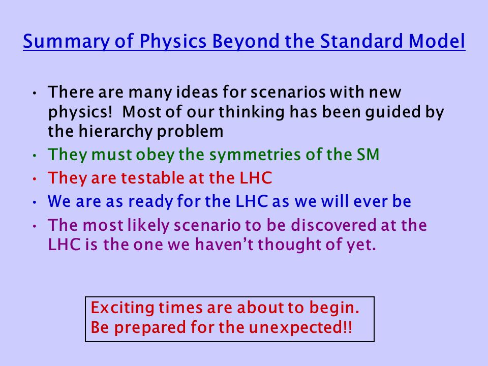 Summary of Physics Beyond the Standard Model There are many ideas for scenarios with new physics.