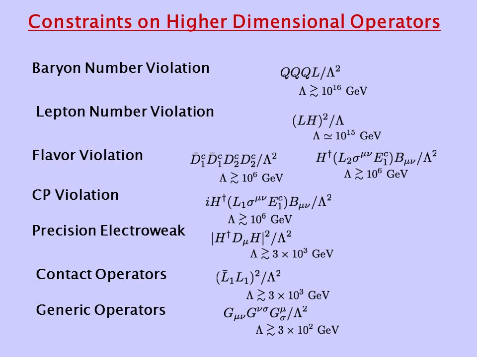 Constraints on Higher Dimensional Operators Baryon Number Violation Lepton Number Violation Flavor Violation CP Violation Precision Electroweak Contact Operators Generic Operators