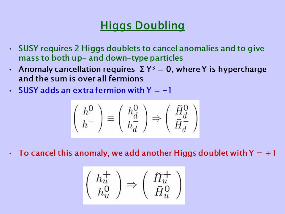 Higgs Doubling SUSY requires 2 Higgs doublets to cancel anomalies and to give mass to both up- and down-type particles Anomaly cancellation requires Σ Y 3 = 0, where Y is hypercharge and the sum is over all fermions SUSY adds an extra fermion with Y = -1 To cancel this anomaly, we add another Higgs doublet with Y = +1