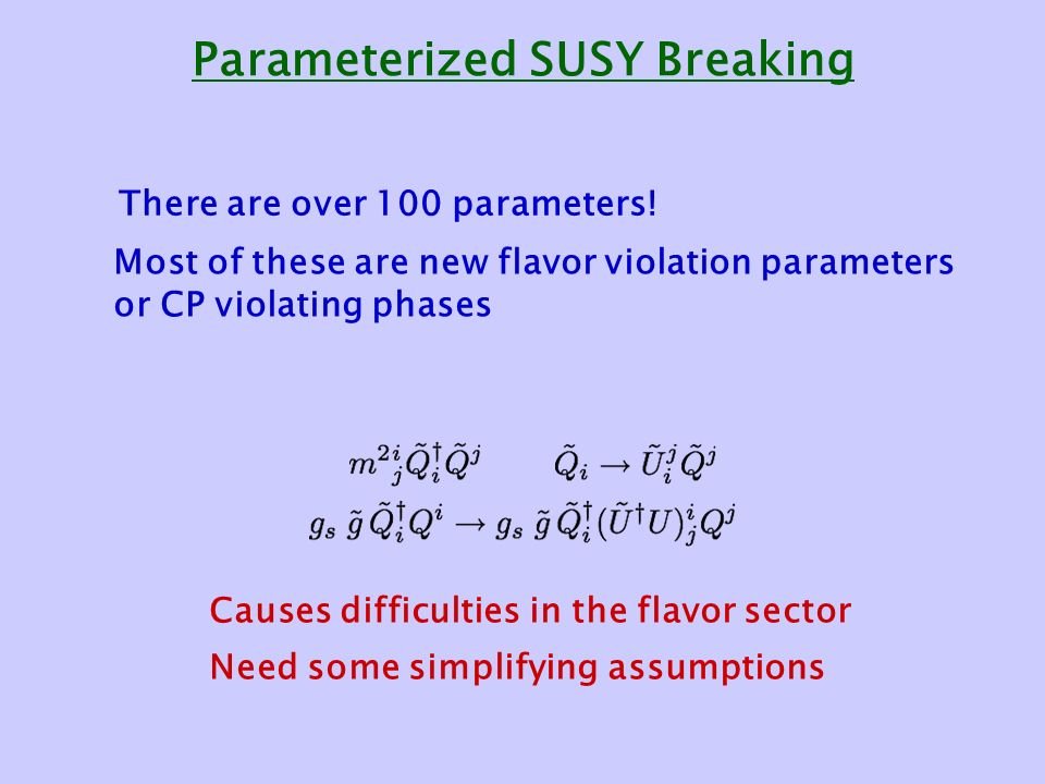 Parameterized SUSY Breaking There are over 100 parameters.
