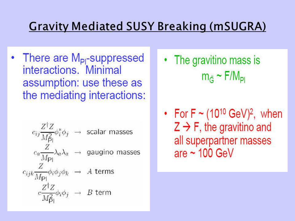 Gravity Mediated SUSY Breaking (mSUGRA)