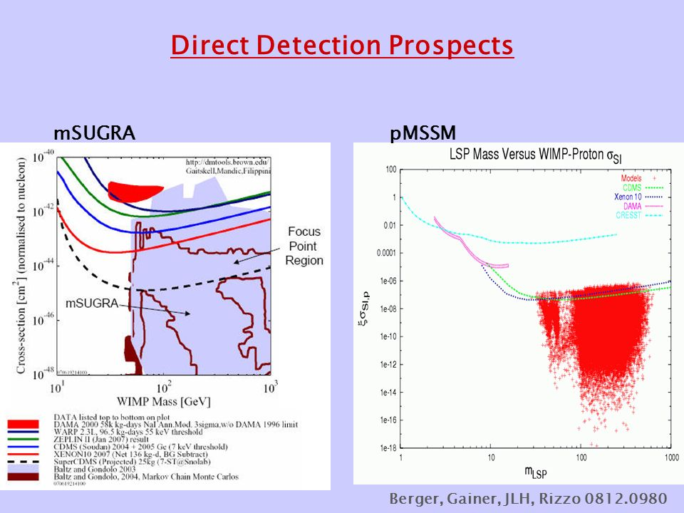 Direct Detection Prospects mSUGRApMSSM Berger, Gainer, JLH, Rizzo