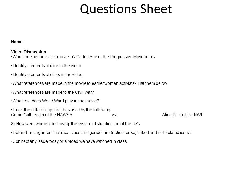 Iron Jawed Angels. Questions Sheet Name: Video Discussion ...