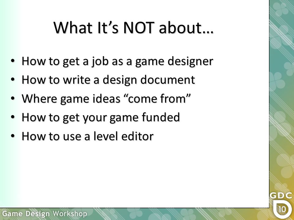 Is This Thing On Game Design Workshop Orientation GDC Ppt Download - How to write a game design document