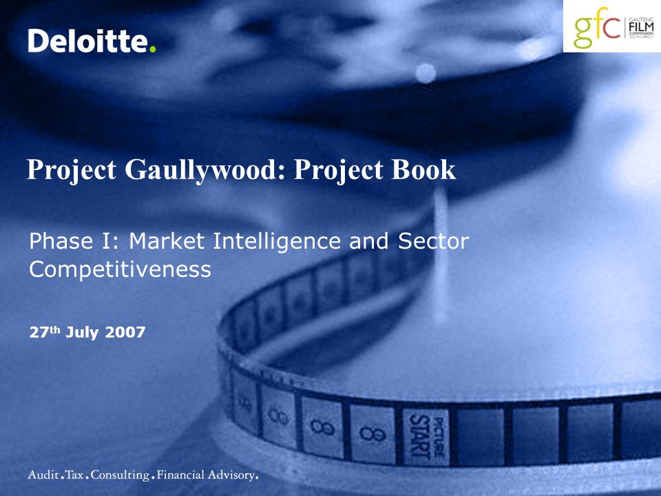 Project Gaullywood: Project Book Phase I: Market Intelligence and Sector Competitiveness 27 th July 2007