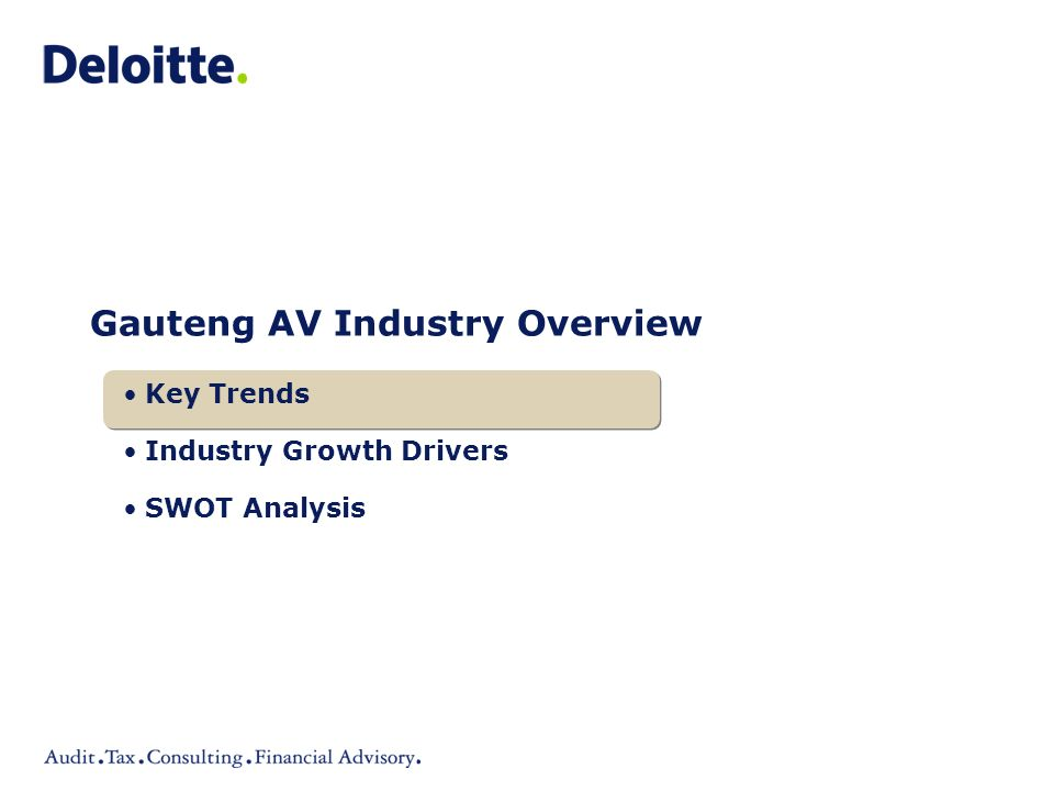 Gauteng AV Industry Overview Key Trends Industry Growth Drivers SWOT Analysis
